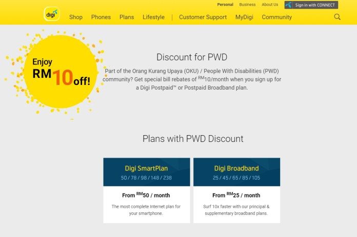 Digi Postpaid Plan for PWD
