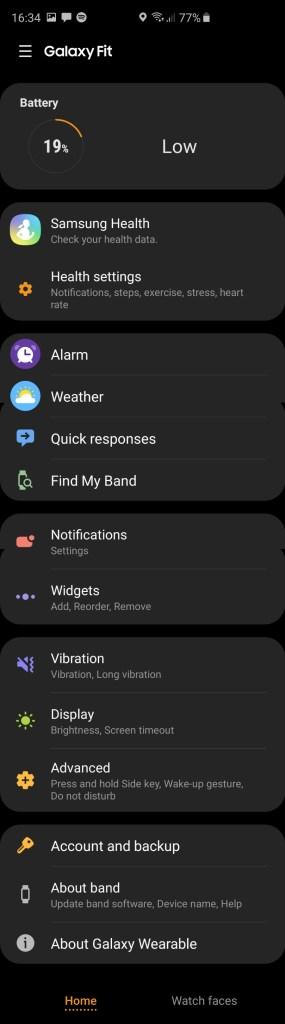 Samsung Galaxy Fit Samsung Wearables app