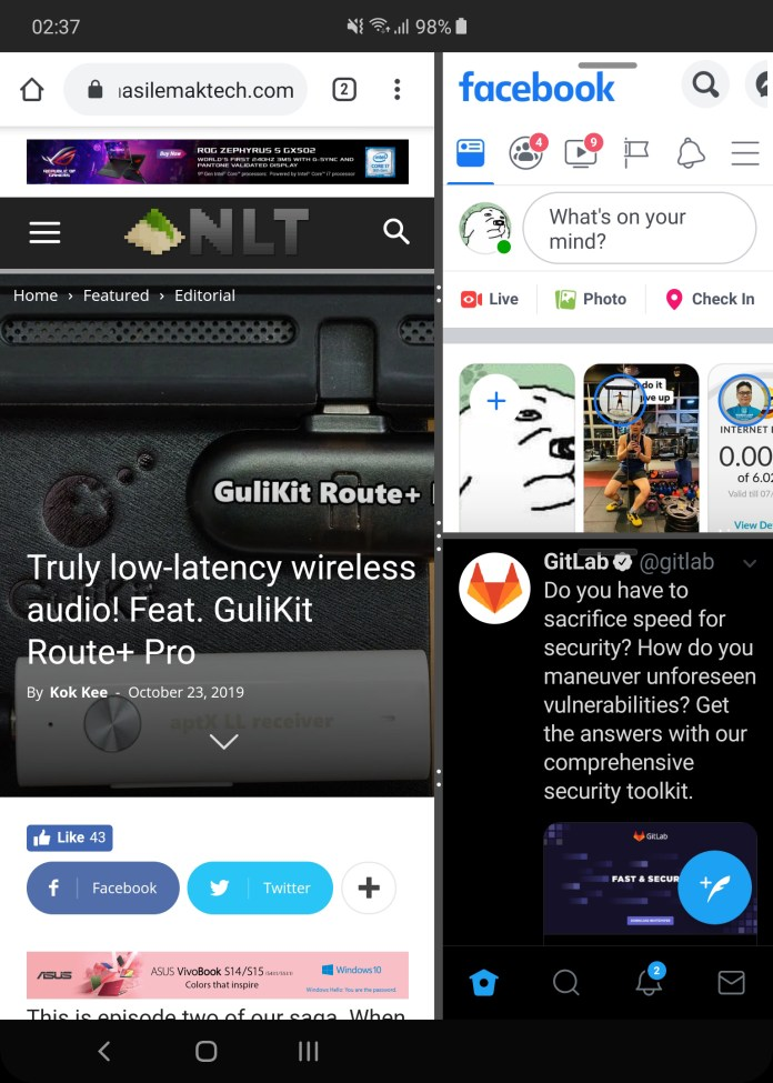 Samsung Galaxy Fold multitask