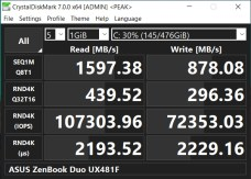 ASUS ZenBook Duo UX481F CrystalDiskMark peak benchmark