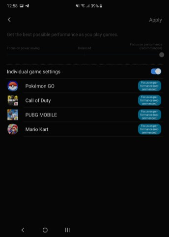 Samsung 90Hz refresh rate Game Launcher