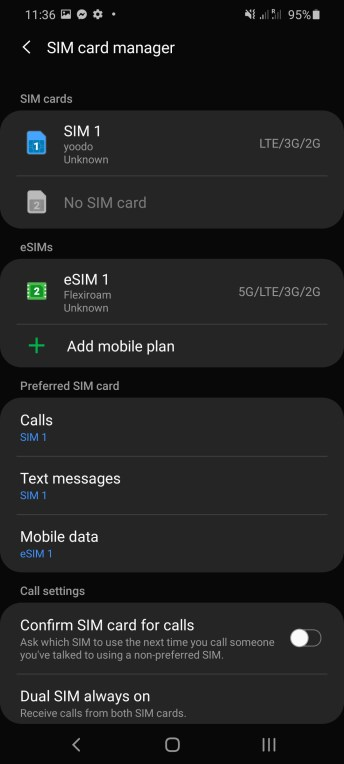 Samsung Galaxy S20 Ultra SIM card manager