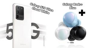 Samsung Galaxy S20 Ultra Cloud White Galaxy Buds+ Blue