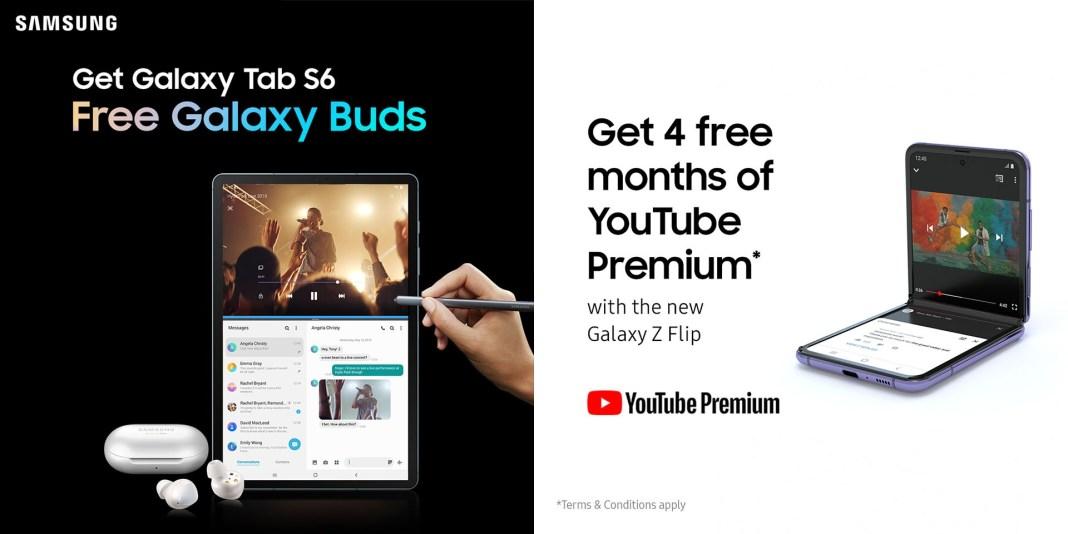 Samsung Galaxy Tab S6 Free Galaxy Buds YouTube Premium