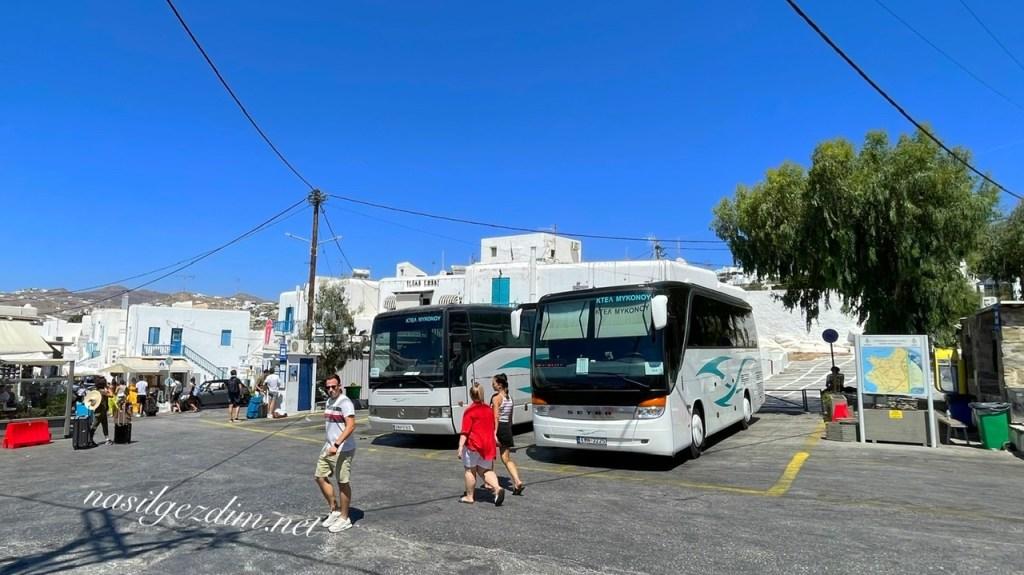 mikonos'da ulaşım, fabrika otobüs durağı, mikonos gezi rehberi