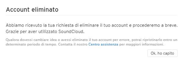 Elimina l'account Soundcloud