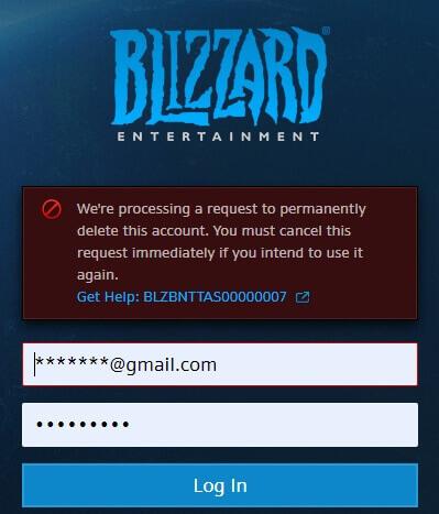 Eliminazione dell'account di gioco Blizzard Eliminazione dell'account di gioco Blizzard