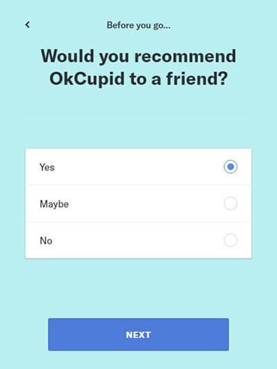 OkCupid Cancellazione account