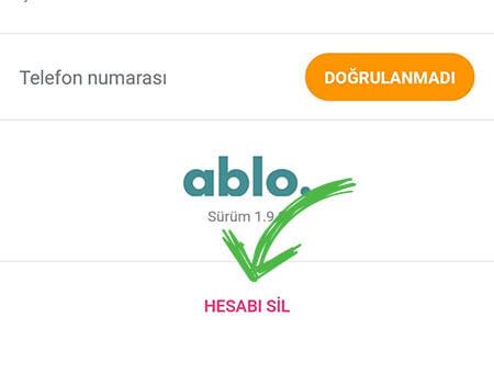 ablo hesap sil