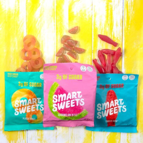 SmartSweets, better for you gummies, low sugar candy, allulose, better for you candy, better for you sweet fish, better for you peach rings, peach rings
