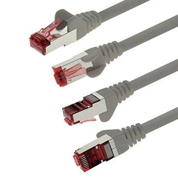 1aTTack CAT6 CAT 6 Netzwerk-Patch-Kabel SET (10 Stück) 0,5m 0,5 Meter - SFTP - doppelt geschirmt PIMF + GEFLECHT - Twisted Pair mit 2 x RJ45 Stecker und vergoldeten Kontaktflächen - grau - 4
