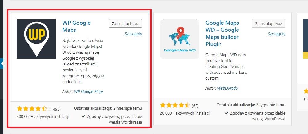 Wordpress - Instalacja wtyczki WP Google Maps