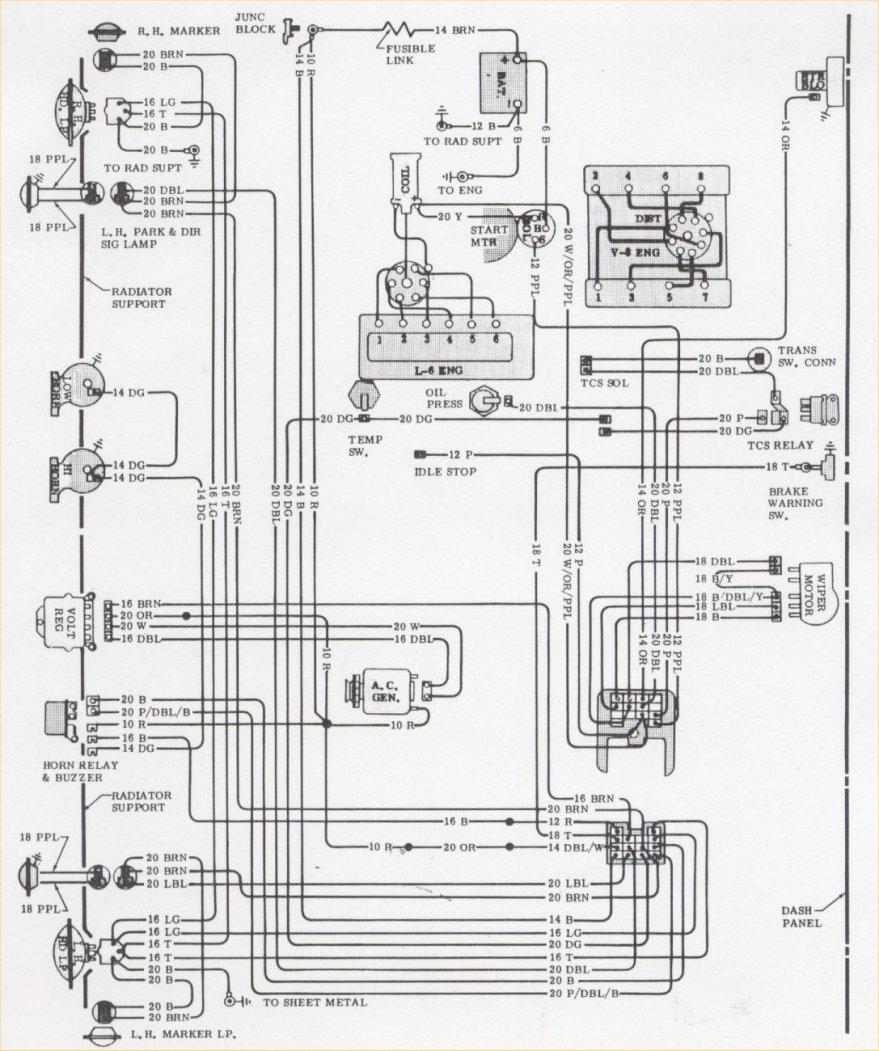 1970 Camaro Engine & Forward Light Wiring Schematic