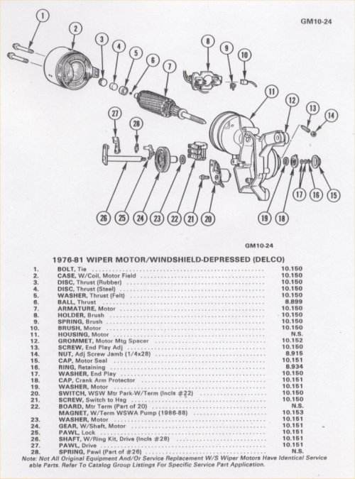 small resolution of parking wiper motor parts list