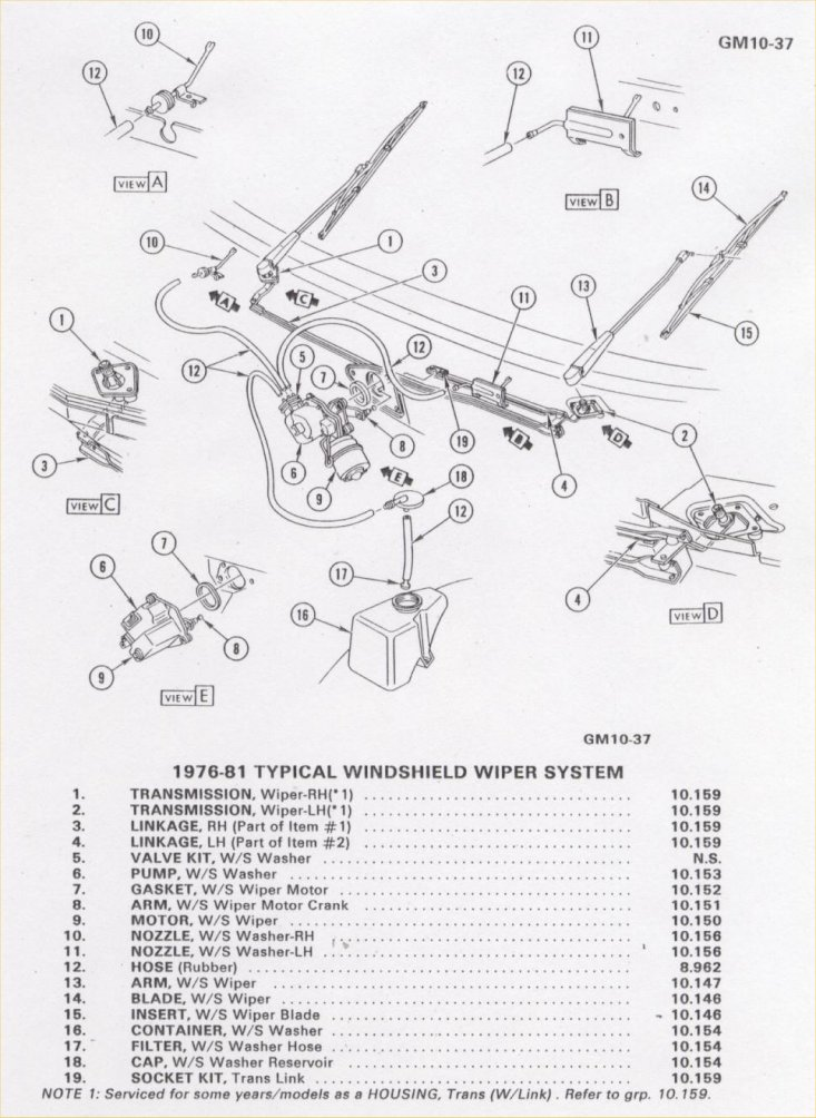 Camaro Windshield wiper, washer & pump Information