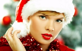 Beautiful young woman wearing santas