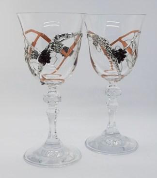 szkło artystyczne kieliszki do wina