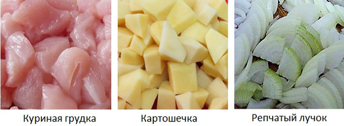 Tagliare cipolle, patate e filetto di pollo
