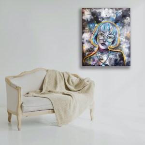 toile Mia a vendre réalisée par Natacha Perez, artiste peintre professionelle en alsace.