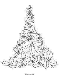 Disegno Albero di Natale con foglie di agrifoglio | Natale 25