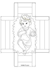 Bambino Ges nella culla pieghevole da colorare | Natale 25