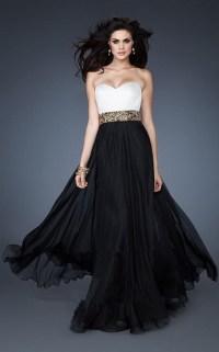 Long black and white dresses