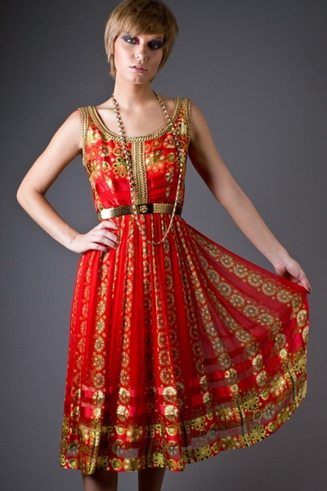 Red and gold dresses