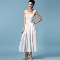 Long white casual summer dress