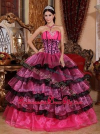Quinceanera dresses pink and black