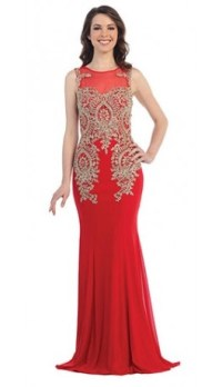 Fitted red prom dress