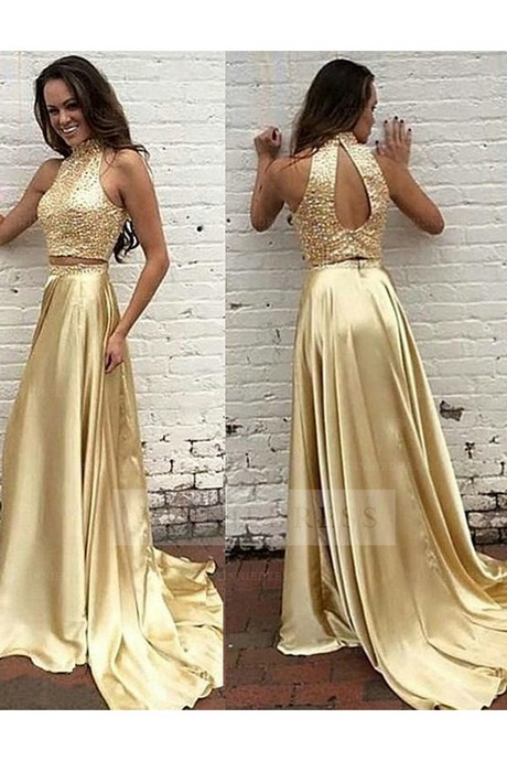 Two piece gold prom dress
