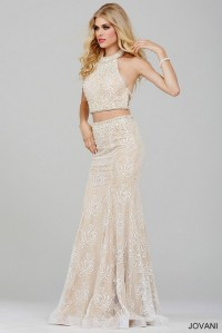 Two piece white prom dress