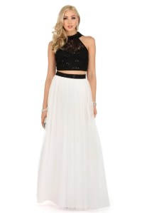 White two piece prom dress