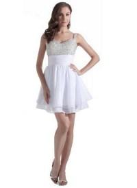 Silver short prom dress