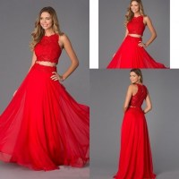 Red lace two piece prom dress