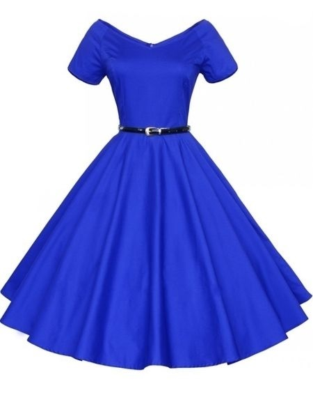 Plain blue skater dress