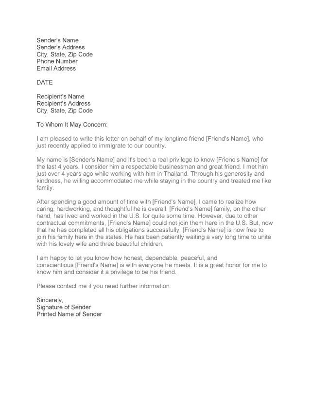 Letter for Friend for Immigration  Template Library