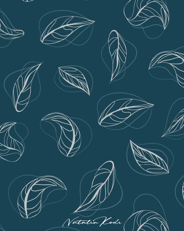 Abstract leaves pattern design by Natalia Kodi