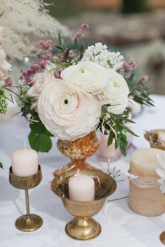 Feather-like pampas, pastel pink ranunculus, peony roses, eucalyptus