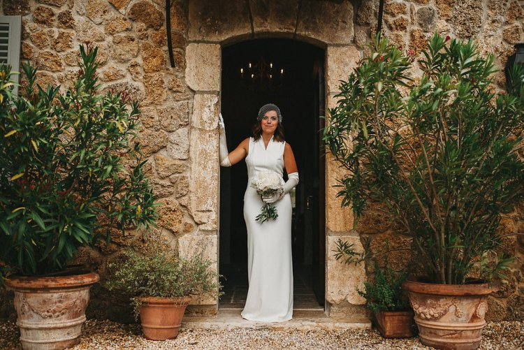 Summer wedding day at San Galgano abbey in Italy