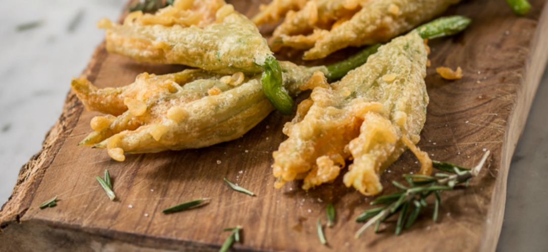 finger foods like fried zucchini blossoms, artichokes, sage leaves