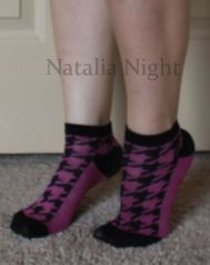 Purple and Black Houndstooth Ankle. Well Worn. Unknown brand. $8.