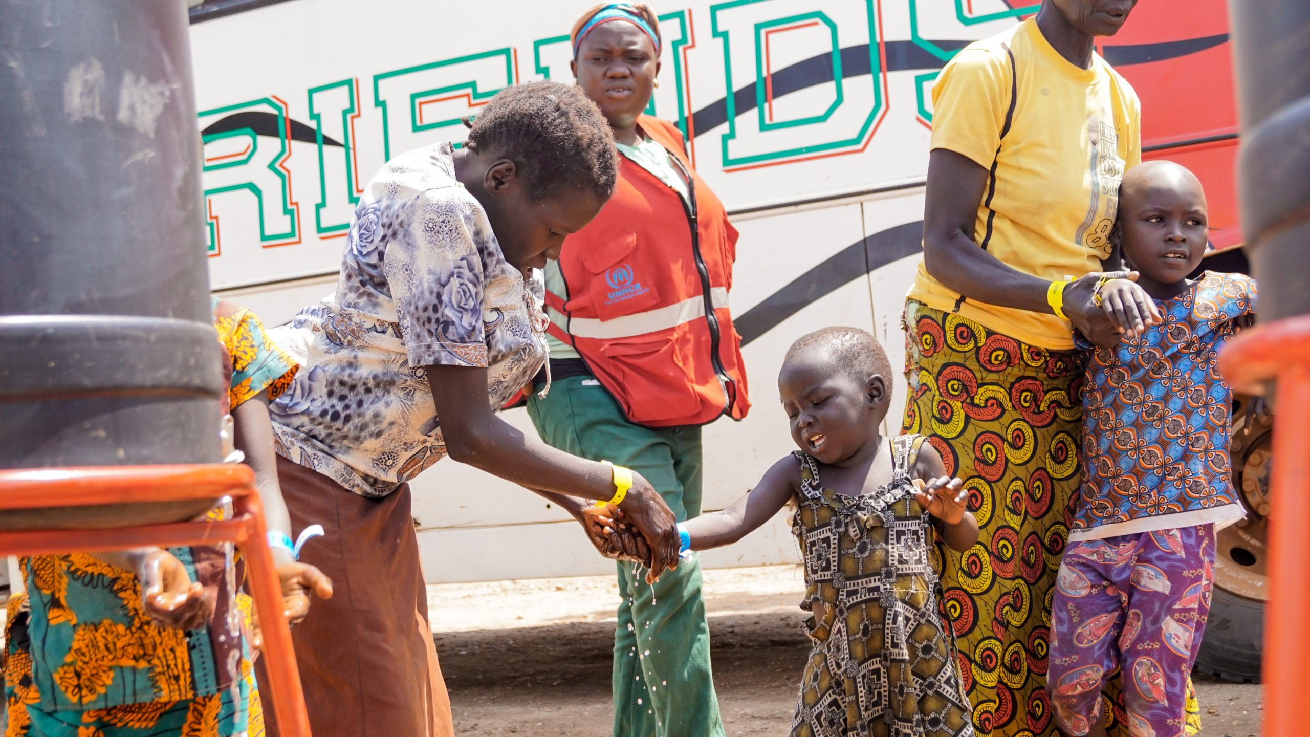 South Sudanese refugees upon arrival at the Imvepi Refugee Camp in Uganda