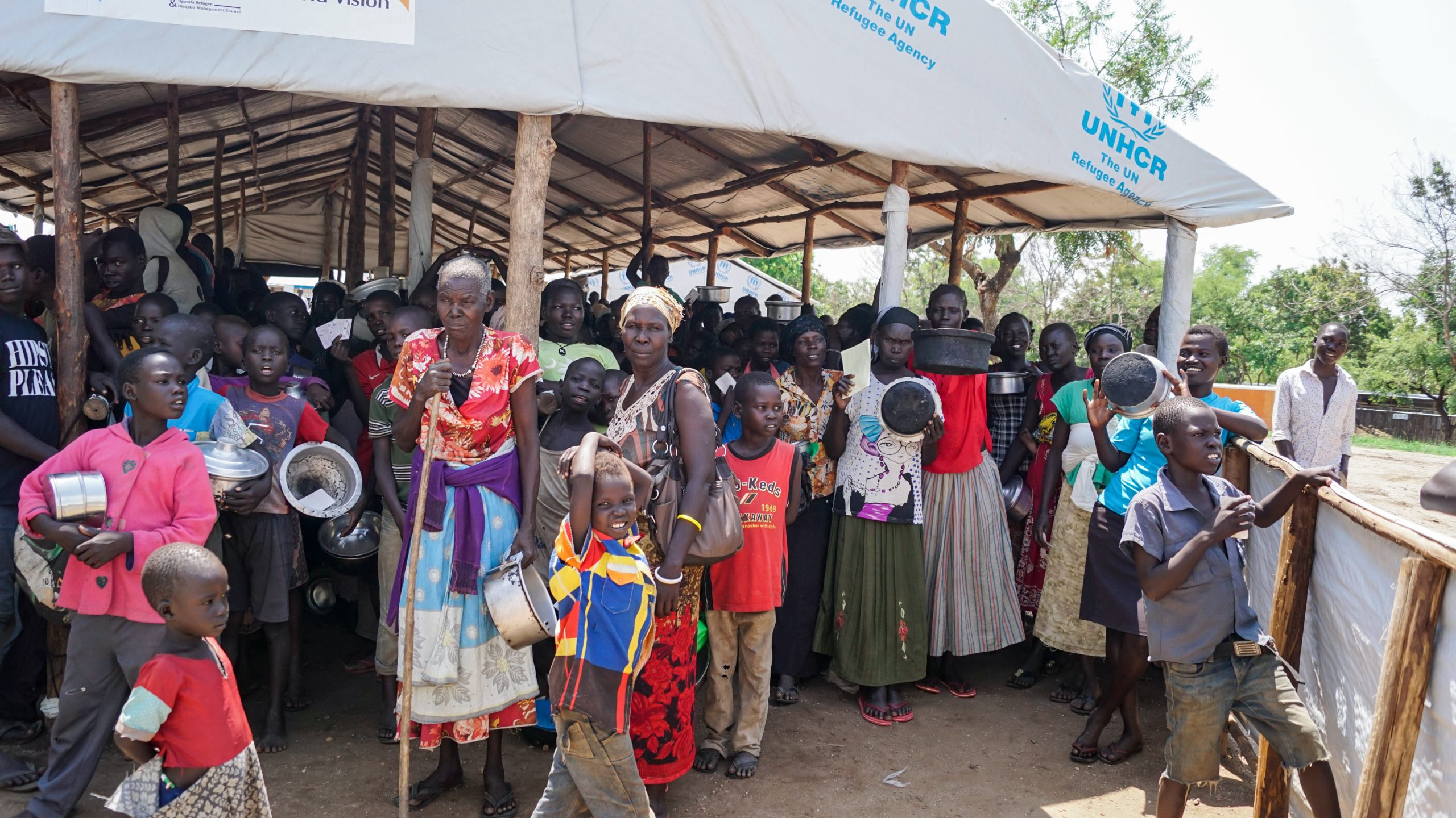 Imvepi Refugee Camp in northwestern Uganda. South Sudanese refugees waiting for the food distribution.