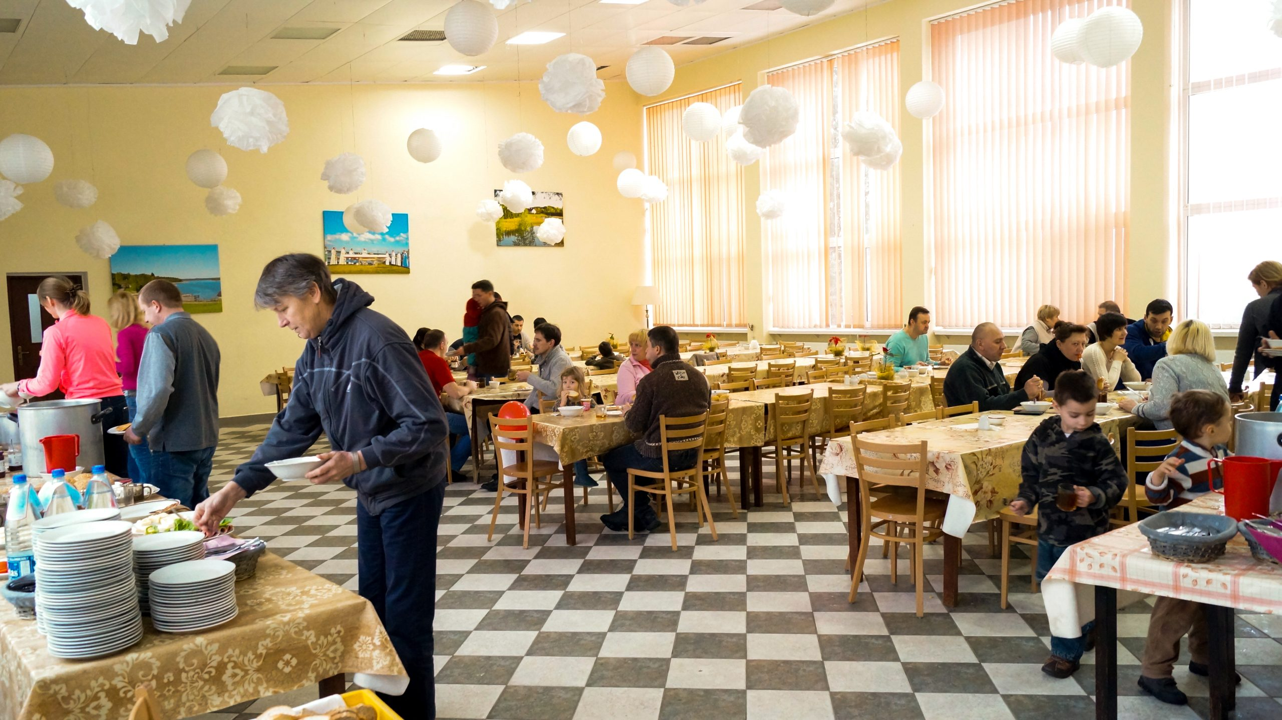 Lunchroom in Caritas Rybaki Center, Poland