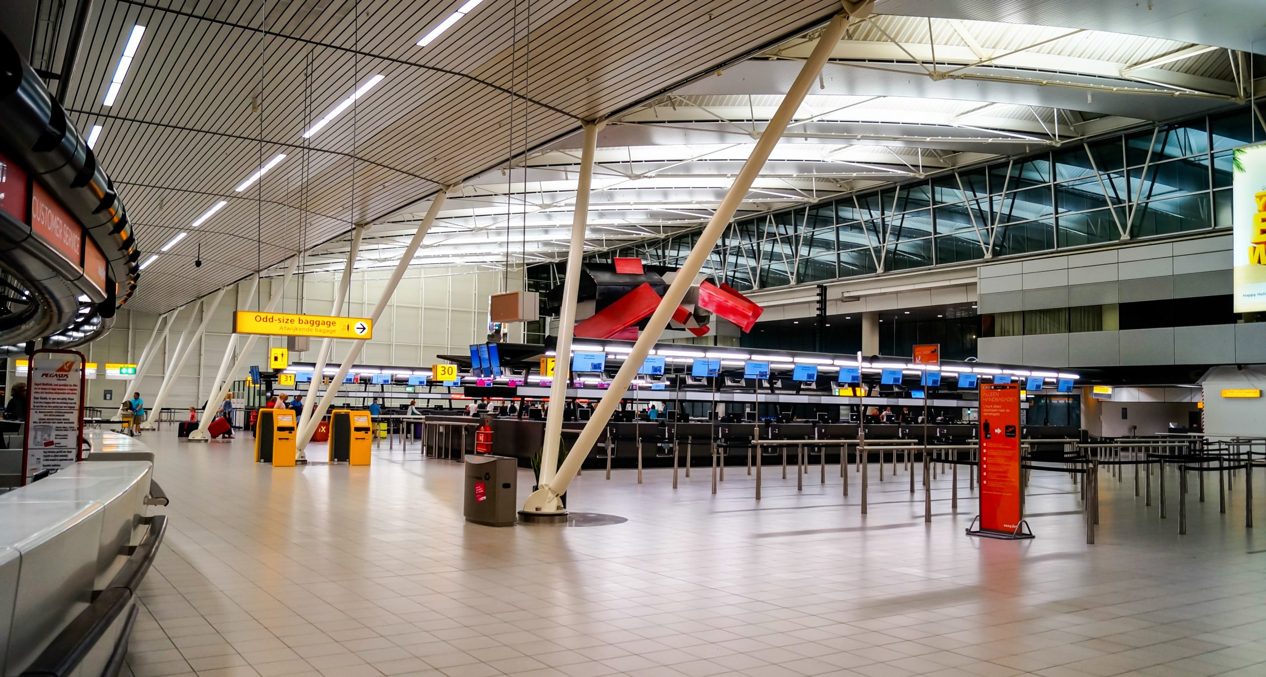 July 18, 2014: Schiphol Airport in Amsterdam, Departures Terminal 3, night hours. The major area of the terminal was empty. There was neither a spokesperson from the Malaysia Airlines nor from the Schiphol Airport.