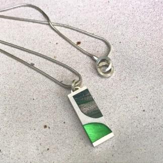 Green Murano Glass and Silver Pendant