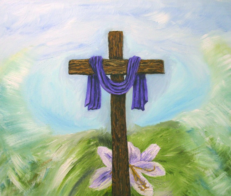 Cross and Lily oil painting by Natalie Buske Thomas