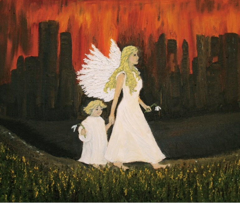 Guardian Angel oil painting by Natalie Buske Thomas 2
