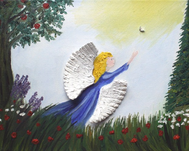 For Book 8x10 Angel and Dove oil painting by Natalie Buske Thomas